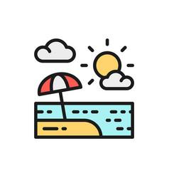 beach umbrella in sand landscape flat color line vector image