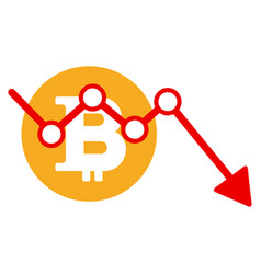 bitcoin down trend flat icon vector image