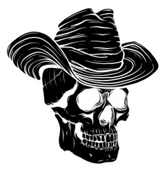 black silhouette spooky cowboy skull character vector image