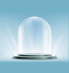 Blank empty and transparent glass dome on podium vector
