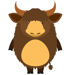 Brown yak with happy face vector