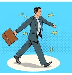 Businessman goes through money rain vector image