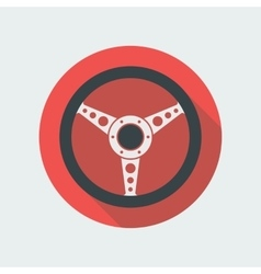 Car Steering Wheel Icon Flat Symbol vector
