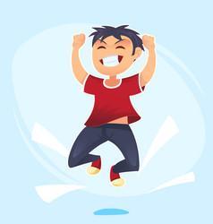 cartoon character happy school cute boy jumping vector image