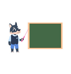 Cartoon dog teacher animal teaching children vector