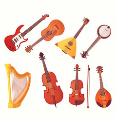 Cartoon musical instruments guitars music vector