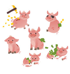 cartoon piggy bank set vector image