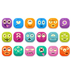 colorful buttons emoticons sett with different vector image