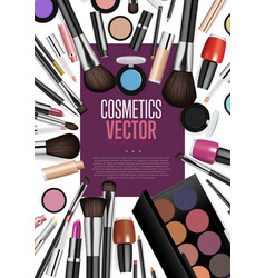 Cosmetic products assortment realism banner vector