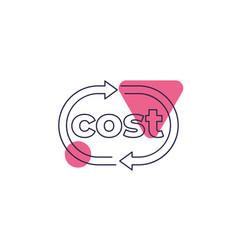Cost icon line design vector