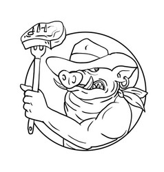 Cowboy wild pig holding barbecue steak drawing vector