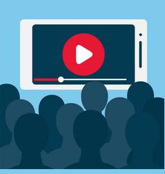 croud watching video on smartphone screen vector image