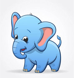 Cute infant blue elephant character baby vector
