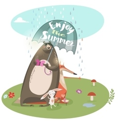 cute summer animals vector image