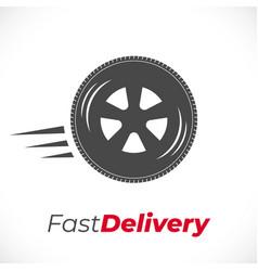 delivery icon wheel grey vector image
