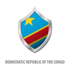 Democratic republic congo flag on metal vector