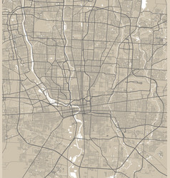 Detailed map columbus city linear print map vector