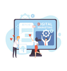 digital marketing creative team working on web vector image