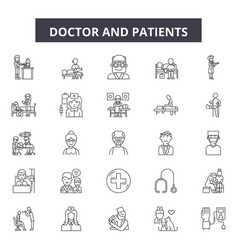 Doctor and patients line icons signs set vector