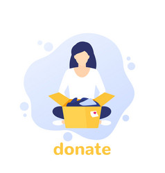 Donation concept girl and box vector