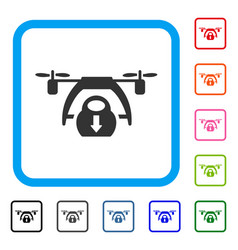 drone unloading framed icon vector image