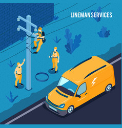 Electrician lineman services poster vector