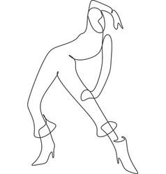 fashion woman line hand-drawn graphic beautiful vector image
