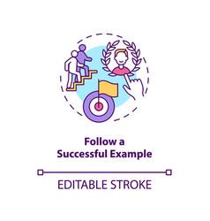 Follow successful example concept icon vector