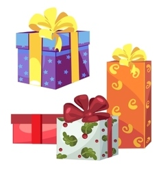 Four gift boxes with ribbon and bow vector image