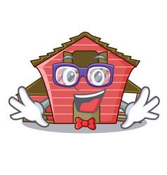 Geek a red barn house character cartoon vector