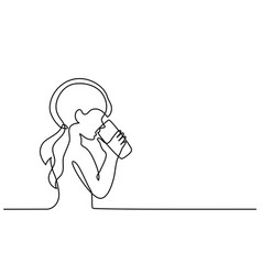 girl drinking water from glass vector image