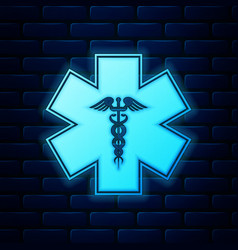 Glowing neon emergency star - medical symbol vector