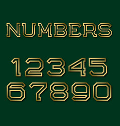 Golden hollow angular numbers with shadow fashion vector