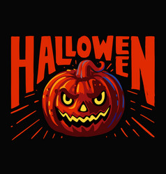 halloween evil pumpkin on black background vector image