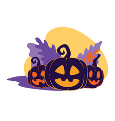 Halloween jack o lantern pumpkins with carved vector