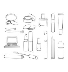 Hand drawn collection of products for makeup vector