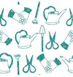 Hand drawn terrarium gardening tools embellished vector