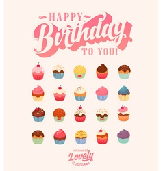 Happy Birthday Cute Cupcake Set vector image