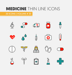 health care and medicine thin line icons set vector image