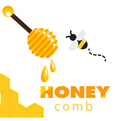 honeycomb bee honey dipper background image vector image