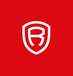 Initial letter r shield strong logo design vector