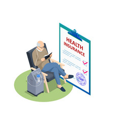 Isometric insurance policy medical insurance vector