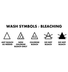 laundry bleaching symbols icons for different vector image