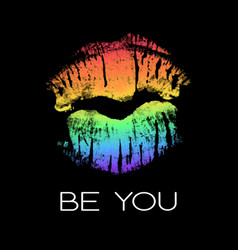 Lgbt support poster with rainbow lipstick imprint vector