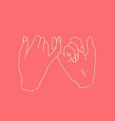 linear hand drawn on pinky swear promise with two vector image