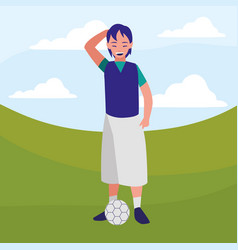 little boy with balloon soccer character vector image