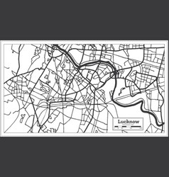lucknow india city map in retro style outline map vector image