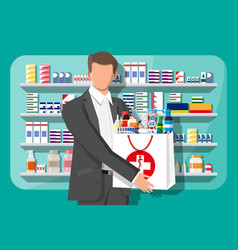 man holding drugstore bag in front pharmacy vector image