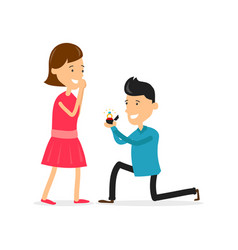 Man makes marriage proposal to girlfriend vector