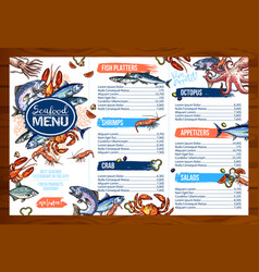 Menu for seafood or fish seafood restaurant vector